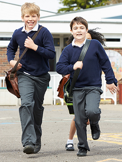 Schoolchildren running