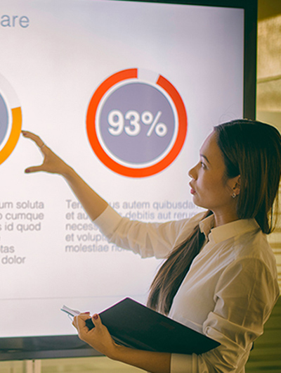 Woman looking at a infographic
