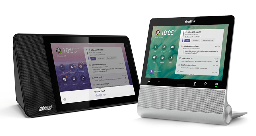 Lenovo ThinkSmart View and Yealink Display Screen for Microsoft Teams Phone System