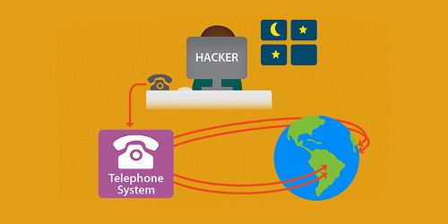 Illustration of a home working connecting to the world wide web via a phone line through her laptop at night