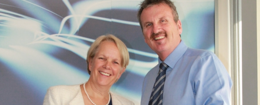 Bev Britton, The Prince's Trust Programme Manager and swcomms' MD Brian Lodge image