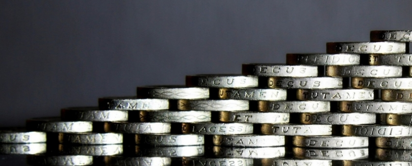 Stacked pound coins image